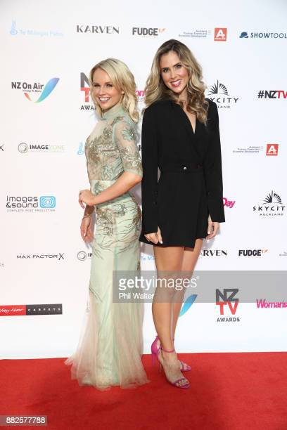Kimberley Crosman and Anna Hutchison arrive ahead of the NZ TV Awards at Sky City on November 30 2017 in Auckland New Zealand