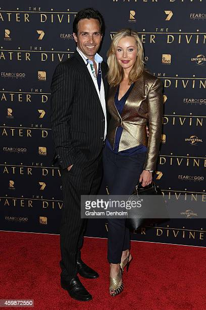 Kimberley Davies and husband Jason Harvey arrive at the Melbourne Premier of 'The Water Diviner' at Rivoli Cinema on December 3 2014 in Melbourne...