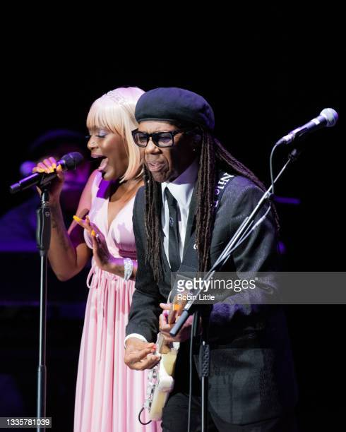 Kimberley Davis and Nile Rodgers of Chic perform during Hampton Court Palace Festival 2021 at Hampton Court Palace on August 22, 2021 in London,...