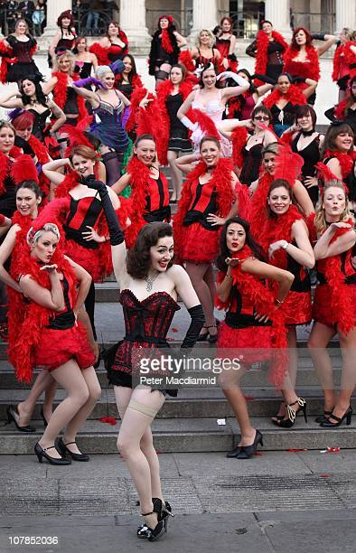 Kimberley Dunne leads dancers in an attempt to break the record for the world's largest burlesque dance in Trafalgar Square on January 3 2011 in...