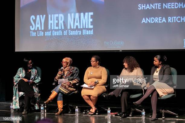 Kimberley Egonmwan Shante Needham Ameena Matthews Andrea Ritchie and Kim Foxx attend Say Her Name The Life and Death of Sandra Bland Preview and...