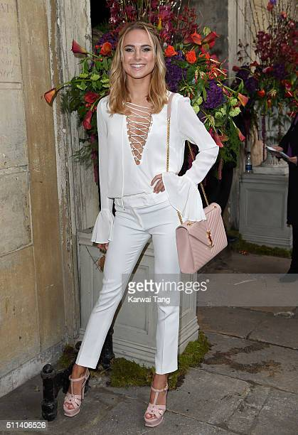 Kimberley Garner attends the Julien Macdonald show during London Fashion Week Autumn/Winter 2016/17 at One Mayfair on February 20 2016 in London...