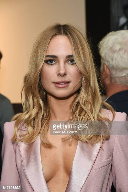 Kimberley Garner attends the private view of leading wildlife photographer David Yarrow's exhibition at Maddox Gallery Westbourne Grove in...