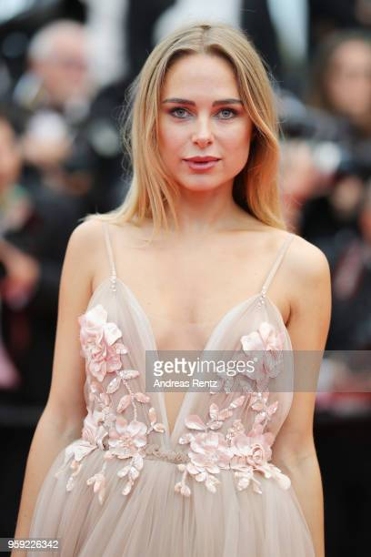 Kimberley Garner attends the screening of Burning during the 71st annual Cannes Film Festival at Palais des Festivals on May 16 2018 in Cannes France