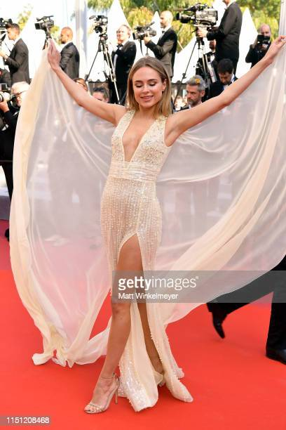 Kimberley Garner attends the screening of The Traitor during the 72nd annual Cannes Film Festival on May 23 2019 in Cannes France