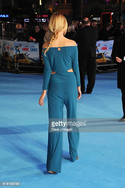 Kimberley Garner dress detail attends the European premiere of 'Eddie The Eagle' at Odeon Leicester Square on March 17 2016 in London England