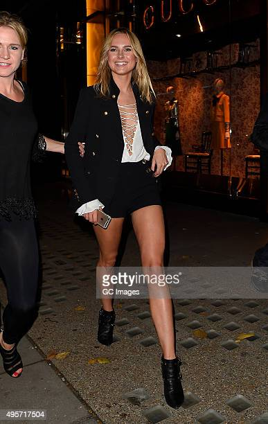 Kimberley Garner leaves Roberto Cavalli Store in Knightsbridge after their Disaronno launch party on November 4 2015 in London England