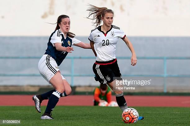 Kimberley McAlpine of Scotland challenges Klara Buhl of Germany during the UEFA Women Under16 match between U16 Scotland v U16 Germany on February 13...