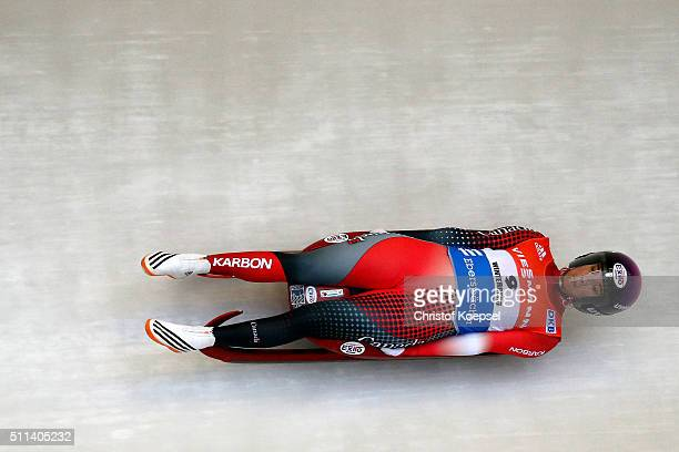 Kimberley McRae of Canada competes during the first women run during the Viessmann Luge World Cup Day 1 at Veltins EisArena on February 20 2016 in...