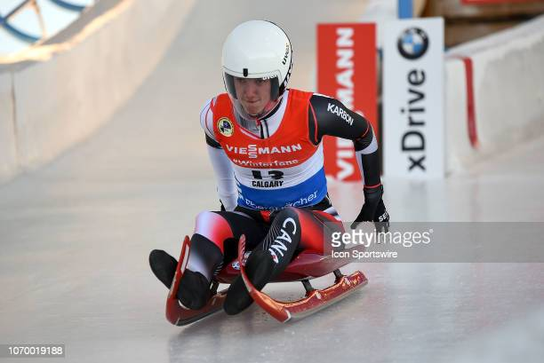 Kimberley McRae of Canada competes during the Viessmann Luge World Cup on December 8 at the Luge Track at Winsport's Canada Olympic Park in Calgary AB