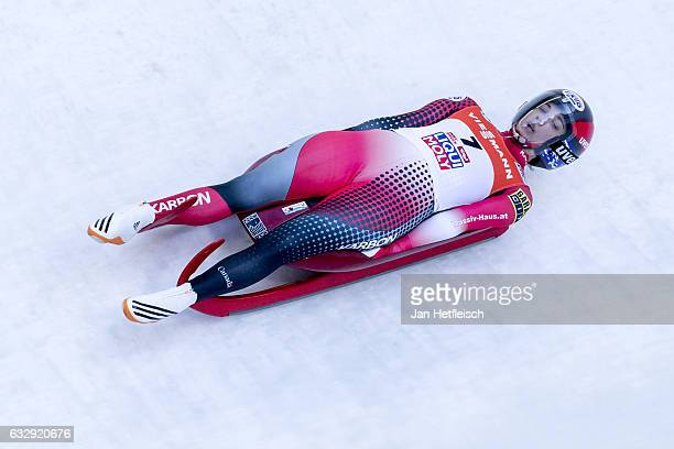 Kimberley McRae of Canada competes in the first heat of the Women's Luge competition during the second day of the FILWorld Championships at...