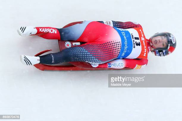 Kimberley McRae of Canada completes her first run in the Women's competition of the Viessmann FIL Luge World Cup at Lake Placid Olympic Center on...