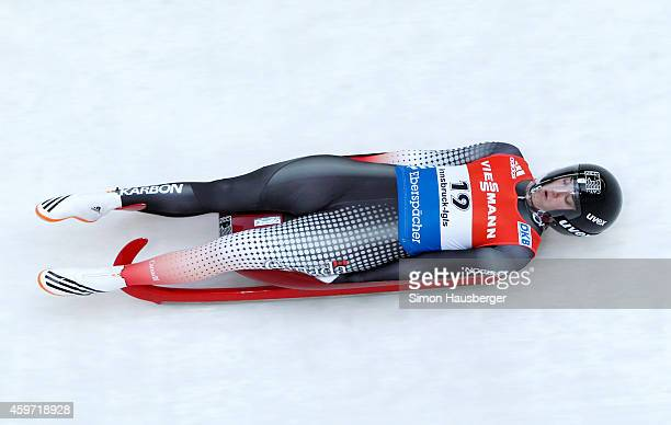 Kimberley McRae of Canada in action during the Viessmann Luge World Cup at Olympiabobbahn Igls on November 29 2014 in Innsbruck Austria