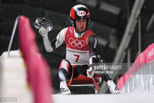 Kimberley Mcrae of Canada reacts after competing during the Luge Women's Singles on day four of the PyeongChang 2018 Winter Olympic Games at Olympic...