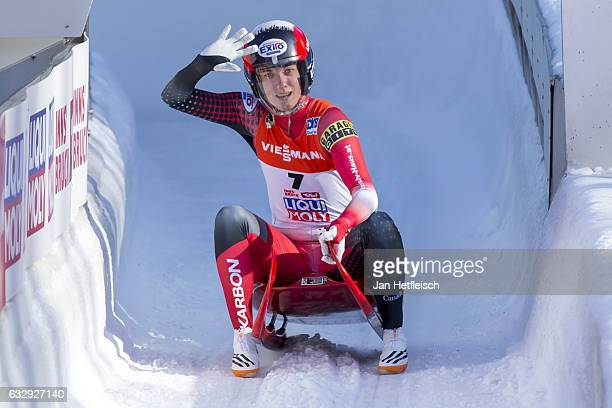 Kimberley McRae of Canada reacts after her second run of the Women's Luge competition during the second day of the FILWorld Championships at...