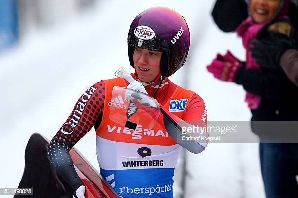 Kimberley McRae of Canada reacts after the women second heat during the Viessmann Luge World Cup Day 1 at Veltins EisArena on February 20 2016 in...