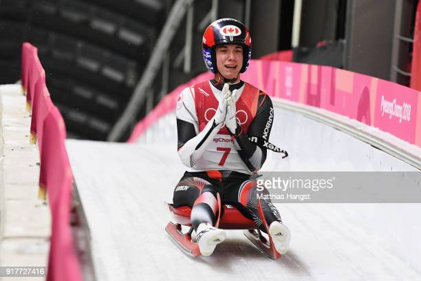 Kimberley Mcrae of Canada reacts during the Luge Women's Singles run 4 on day four of the PyeongChang 2018 Winter Olympic Games at Olympic Sliding...