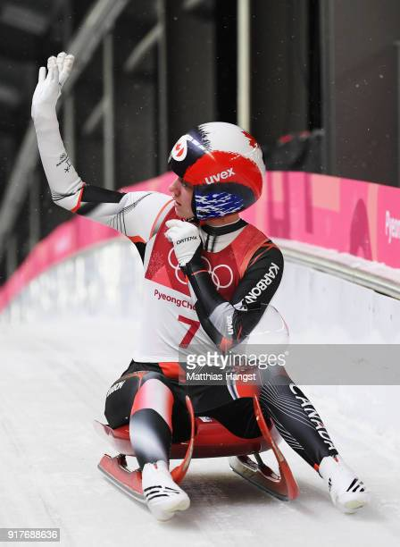 Kimberley Mcrae of Canada reacts following the Luge Women's Singles run 3 on day four of the PyeongChang 2018 Winter Olympic Games at Olympic Sliding...