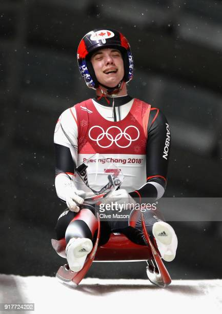 Kimberley Mcrae of Canada reacts following the Luge Women's Singles run 4 on day four of the PyeongChang 2018 Winter Olympic Games at Olympic Sliding...