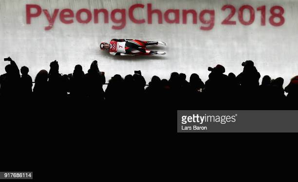 Kimberley Mcrae of Canada slides during the Luge Women's Singles on day four of the PyeongChang 2018 Winter Olympic Games at Olympic Sliding Centre...