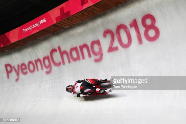 Kimberley Mcrae of Canada slides during the Women's Singles Luge run 1 at Olympic Sliding Centre on February 12 2018 in Pyeongchanggun South Korea