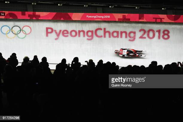 Kimberley Mcrae of Canada slides in the Women's Singles Luge run 1 at Olympic Sliding Centre on February 12 2018 in Pyeongchanggun South Korea