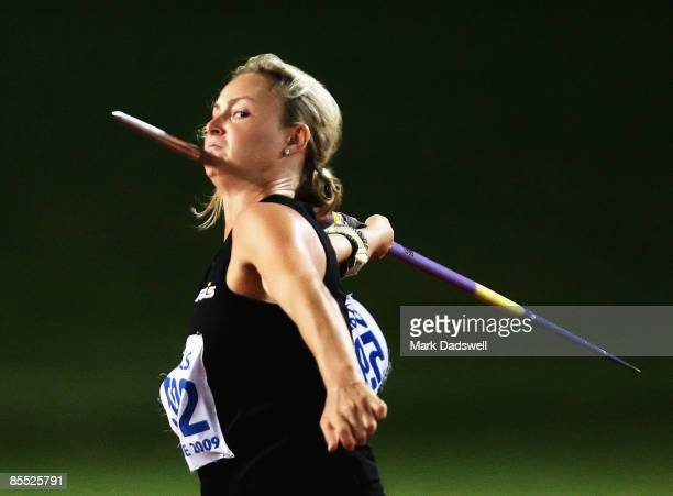 Kimberley Mickle of the WAIS on her way to winning the Womens Javelin Throw on day two of the Australian Athletics Championships Selection Trials at...