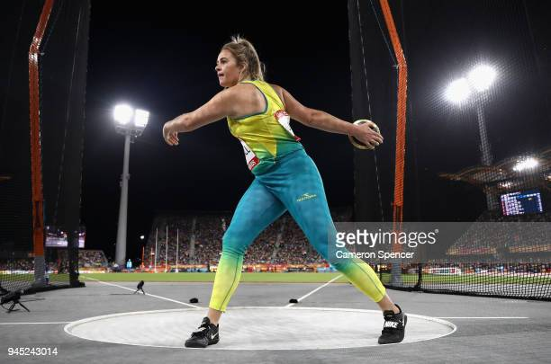 Kimberley Mulhall of Australia competes in the Women's Discus final during athletics on day eight of the Gold Coast 2018 Commonwealth Games at...