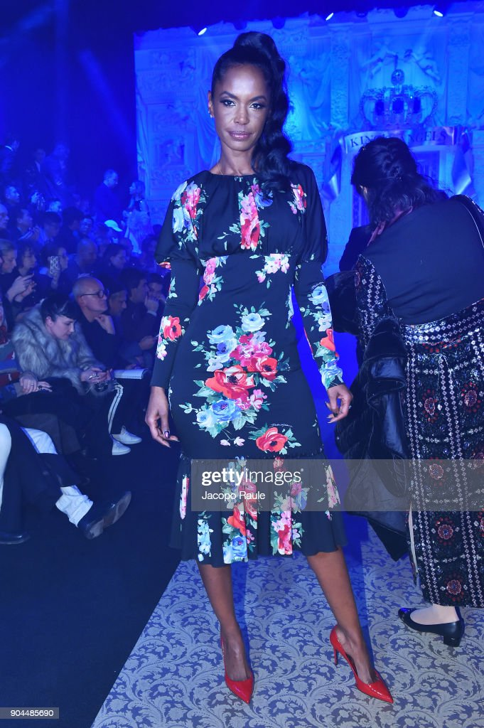 Kimberley Porter attends the Dolce & Gabbana show during Milan Men's Fashion Week Fall/Winter 2018/19 on January 13, 2018 in Milan, Italy.