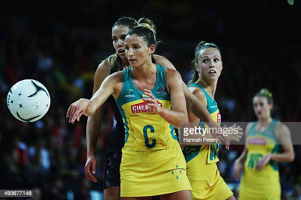 Kimberley Ravaillion of Australia passes the ball during the International Netball Test Match between the New Zealand Silver Ferns and the Australia...