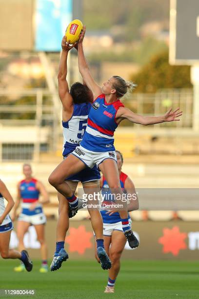 Kimberley Rennie of the Bulldogs competes in the air during the round three AFLW match between the North Melbourne Kangaroos and the Western Bulldogs...