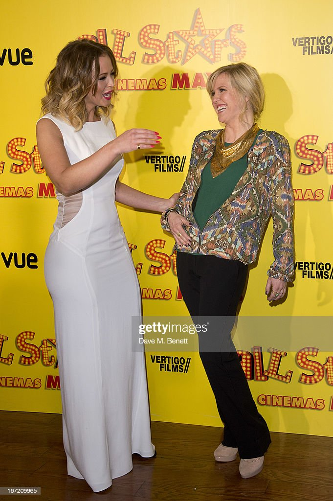 Kimberley Walsh and Ashley Jensen attends the UK Premiere of 'All Stars' at Vue West End on April 22, 2013 in London, England.