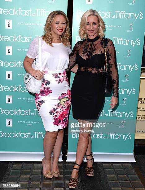 Kimberley Walsh and Denise van Outen arrive for the opening night of Breakfast at Tiffany's at the Theatre Royal Haymarket on July 26 2016 in London...