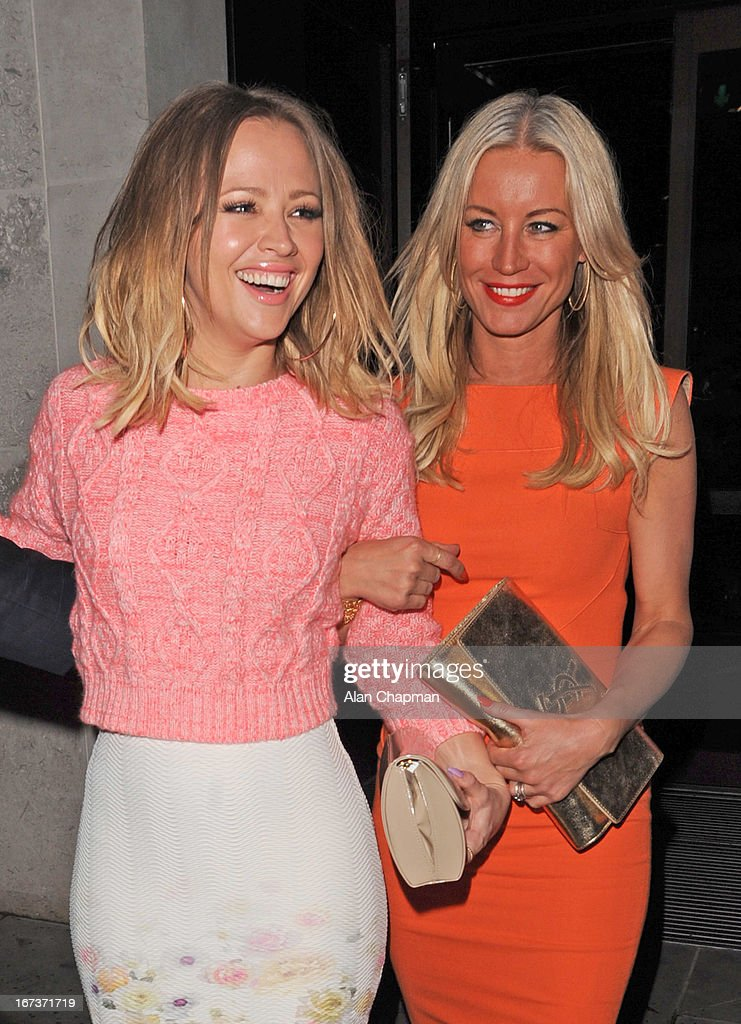 Kimberley Walsh and Denise van Outen sighting leaving STK Restaurant in The Strand on April 24, 2013 in London, England.