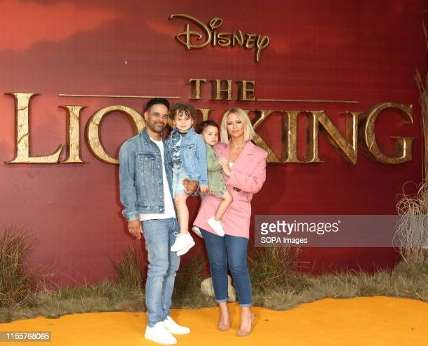 Kimberley Walsh and family attend the European Premiere of Disney's The Lion King at the Odeon Luxe cinema Leicester Square in London