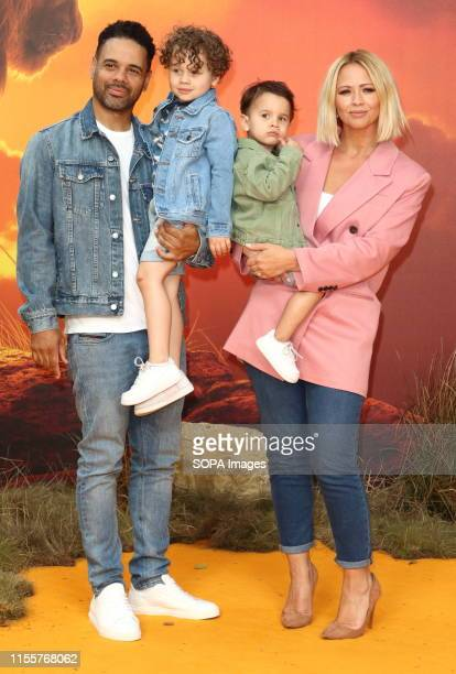 Kimberley Walsh and family attends the European Premiere of Disney's The Lion King at the Odeon Luxe cinema Leicester Square in London