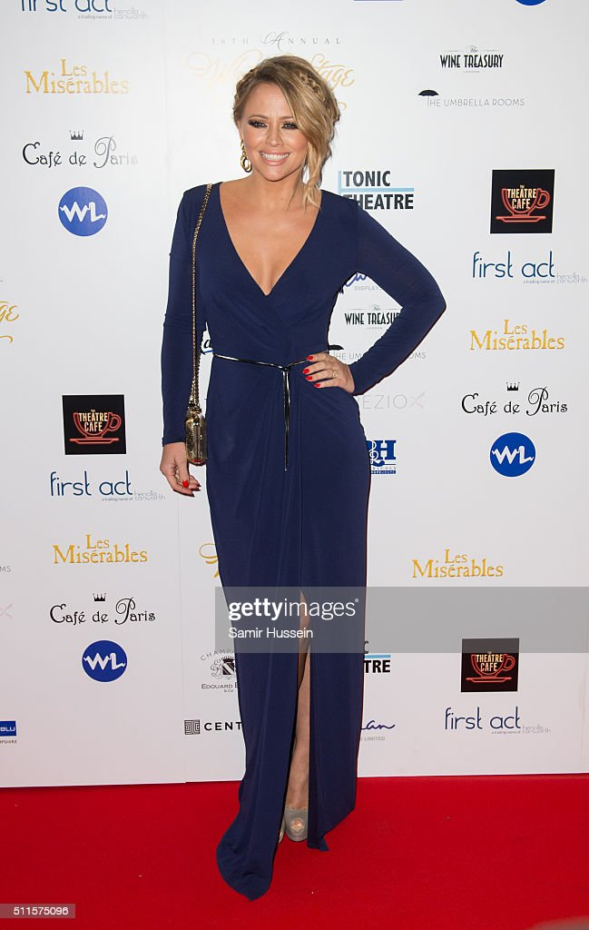 Kimberley Walsh arrives for the WhatsOnStage Awards at Prince Of Wales Theatre on February 21, 2016 in London, England.