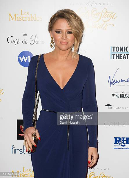Kimberley Walsh arrives for the WhatsOnStage Awards at Prince Of Wales Theatre on February 21 2016 in London England