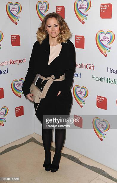 Kimberley Walsh attends a fundraising event in aid of The Health Lottery hosted by Simon Cowell at Claridges Hotel on March 28 2013 in London England