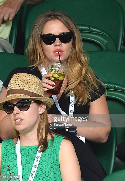 Kimberley Walsh attends the Martin Klizan v Rafael Nadal match on centre court during day two of the Wimbledon Championships at Wimbledon on June 24,...
