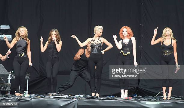 Kimberley Walsh Cheryl Cole Sarah Harding Nicola Roberts and Nadine Coyle of Girls Aloud perform on day two of the V Festival at Hylands Park on...