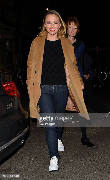 Kimberley Walsh leaves The Dominion Theatre following her latest performance in hit West End show 'Elf The Musical' on December 12 2015 in London...