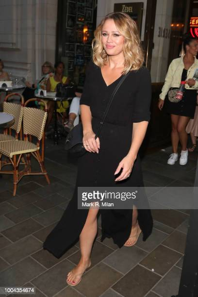 Kimberley Walsh leaves Zedel Brasserie after her live performance on July 23 2018 in London England