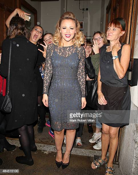 Kimberley Walsh leaving the Cadogan Hall in Chelsea after her performance in the Sweet Charity musical on August 19 2015 in London England