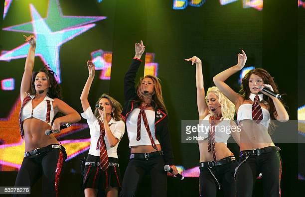 Kimberley Walsh Nadine Coyle Cheryl Tweedy Sarah Harding and Nicola Roberts of Girls Aloud performs on stage at the second annual Big Gay Out...
