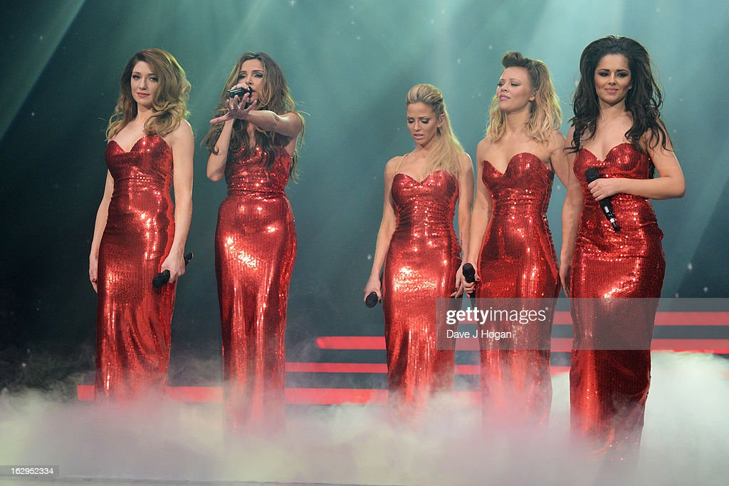 Kimberley Walsh, Nicola Roberts, Nadine Coyle, Cheryl Cole and Sarah Harding of Girls Aloud perform on their 'Ten - The Hits Tour' at The O2 Arena on March 1, 2013 in London, England.