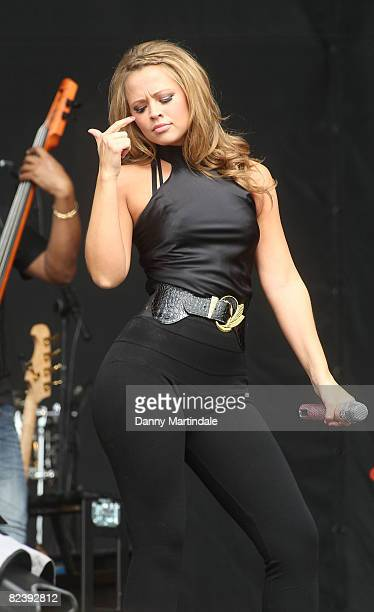 Kimberley Walsh of Girls Aloud performs on day two of the V Festival at Hylands Park on August 17 2008 in Chelmsford England