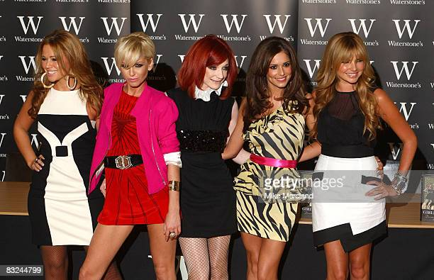 Kimberley Walsh Sarah Harding Nicola Roberts Cheryl Cole and Nadine Coyle from signs copies of their autobiography 'Dreams That Glitter Our Story' at...