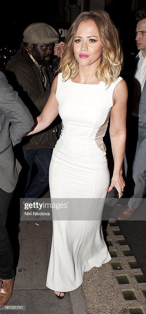 Kimberley Walsh sighting at Nobu restaurant on April 22, 2013 in London, England.