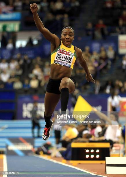 Kimberley Williams of Jamaica competes in the womens triple jump final during day two of the SPAR British Athletics Indoor Championships at Arena...